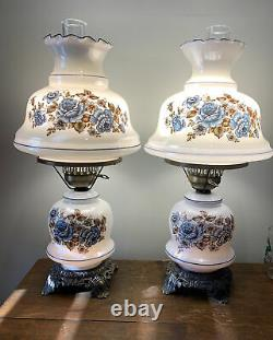 Hurricane Lamp Luster Flower Vintage Blue Double Gone With The Wind Light Pair