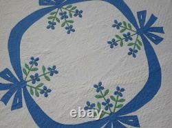 Incredible Quilting! Vintage Blue & White Applique Bow Flower Swag QUILT 92x68