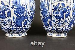 Large Pair Blue and White Chinoiserie Delft Makkum Faiance Vases 48 cm / 19 inch