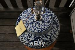 Large Ralph Lauren Home Collection Blue White Floral Mandarin Lamp Rare! NWT