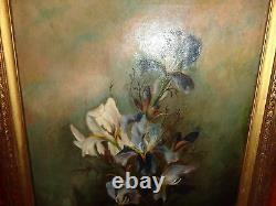 Late 19th. Early 20th. C Oil on Canvas Painting of White & Blue Flowers, Antique