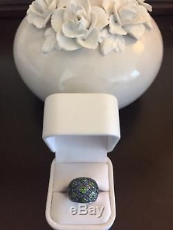 Limited Edition LeVian Blue Sapphire and Green Flower Ring in 18k White Gold
