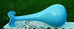 MURANO BEAUTIFUL LARGE MCM BLOWN SKY BLUE & WHITE CASED GLASS VASE 16 Tall