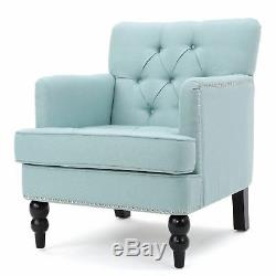Madene Contemporary Button Tufted Fabric Club Chair with Nailhead Accents