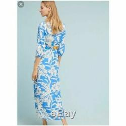 Maeve Belted Blue White Floral Belted Kimono Maxi Dress Size 0 NWT