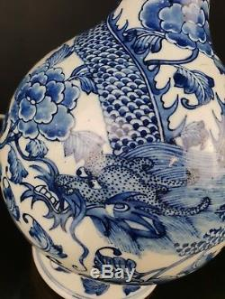 Mangificent Antique Chinese White And Blue Dragon Flowers Vase Porcelain