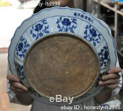 Marked China Ancient Palace Blue&white porcelain Flowers Tray Pallets Dish plate