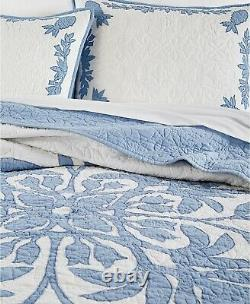 Martha Stewart Collection Aloha Cotton Reversible Quilt FULL / QUEEN White Blue