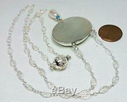 Micro Mosaic Blue & White Flower Grand Tour Silver Filigree Necklace