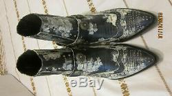 NEW ASH cowboy booties boots denim blue white flowers strap turquoise chips sz 8