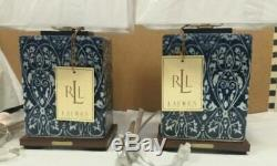 NEW PAIR (2) Ralph Lauren Blue & White Floral Damask Porcelain Lamp & Shade