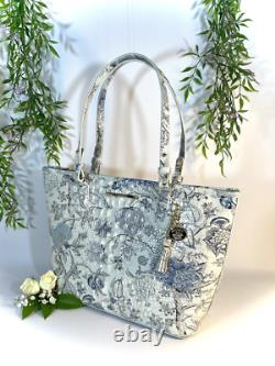 NWT Brahmin White and Light Blue Floral Flower Tote Handbag Purse with dust ba
