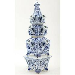 New Chinese Oriental Blue And White Porcelain Tulipiere Flower Stand Vase