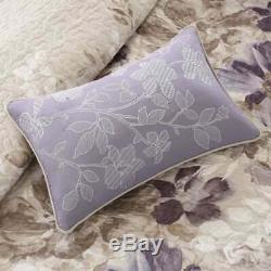New! Cozy Cottage Chic Ivory White Lilac Lavender Watercolor Flower Quilt Set