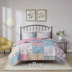 New! Cozy Cottage Country Chic Pink Blue Yellow Rose Flower Soft Quilt Set