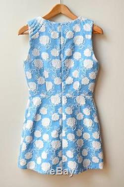 New MSGM Blue White Floral Macrame Embroidered Cotton Blend Shift Dress 40/US4