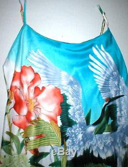 New NWT Designer Natori XS Womens Blue White Silky Satin Long Birds Flowers Pink