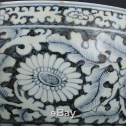 Nice Big Chinese Ming Blue White Porcelain Flowers Plants Bowl