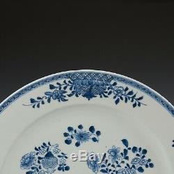 Nice large Chinese Blue & White charger, flowers, 18th ct. Qianlong period