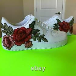 Nike Air Force 1 07 Low Rose Flower Floral Design White Custom Shoes All Size