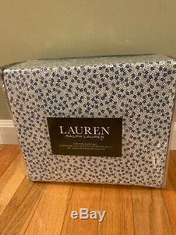 Nip Ralph Lauren 4 Piece King Sheet Set Floral Blue White