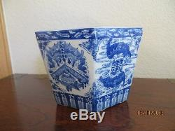 Old Chinese Export Jardiniere Planter Porcelain Flower Pot withWhite/Blue ornate