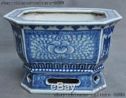 Old Chinese dynasty Blue&white porcelain Ganoderma flower pot Bonsai Potted pots