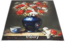 Original Oil Painting Still Life Realism Blue White Vase w Flowers 11x14 Signed