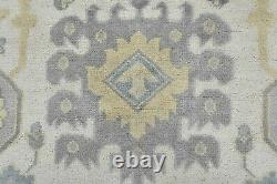 Oushak Rug, 9'x12', Ivory/Blue, Hand-Knotted Wool Pile
