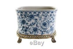 Oval Crackle Blue and White Floral Porcelain Oval Flower Pot Brass Ormolu 7.5