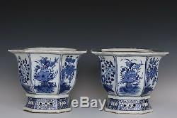 Pair Big Beautiful Blue and White Chinese Porcelain Landscape View Flower Pots