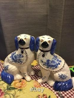Pair Of Blue And White Staffordshire Dogs Blue Flowers
