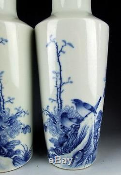 Pair of Chinese Antique Blue&White Porcelain Vase with Flower&Bird Deco