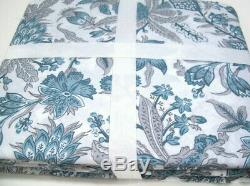 Pottery Barn Blue Gray Kaia Floral Organic Cotton Full Queen Duvet Cover New