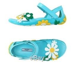 Prada Womens Azure Blue Leather Flower Sandals Shoes 39 / 9 New