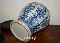 Qing dynasty Kangxi blue and white large vase with flower motif