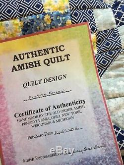 Quilt, Amish, Handmade, Hand Quilted, King Size Quilt, Bed Quilt, Blue Quilt, King