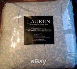 RALPH LAUREN Queen Comforter Set 4PC WHITE BABY BLUE FLORAL BEAUTIFUL RARE