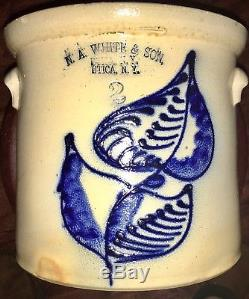 RARE! Antique NA WHITES & SON 2 Gallon Crock With Cobalt Blue Flower DOUBLE STAMP