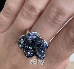 RARE EFFY BH Blue White Sapphire Flower Ring Pave Balissima Ring 925 Size 5.75