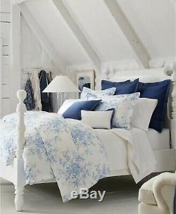 Ralph Lauren Archival Collection Dauphine Floral Comforter KING Blue / White
