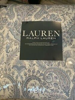 Ralph Lauren KING Comforter & Shams Set Blue & White Paisley Medallion $420 New