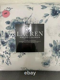 Ralph Lauren King Comforter Set Floral Blue White 3pc New In Package