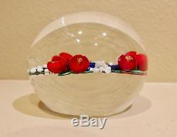 Randall Grubb paperweight with red, blue and white flowers