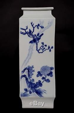 Rare Old Blue And White Chinese Porcelain Flower Vase Hand Painted Marked FA546