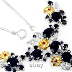Real Blue Sapphire & White Cz Sterling 925 Silver 2-tone Flower Necklace 18.75