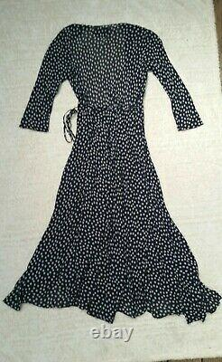 Reformation Tessa Maxi Wrap Dress in Flores Deep Navy & White Flowers Fits XS/S