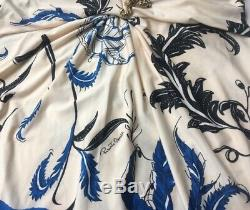 Roberto Cavalli Sexy Stretch Blue White Floral Party Dress IT 44 46 US L 10-12