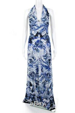 Roberto Cavalli Womens Graphic Floral Halter Maxi Dress Blue White Size IT 46