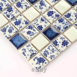 Roses Mosaic Tiles Bathroom Art Wall Flower Tile Blue And White Floral (11PCS)